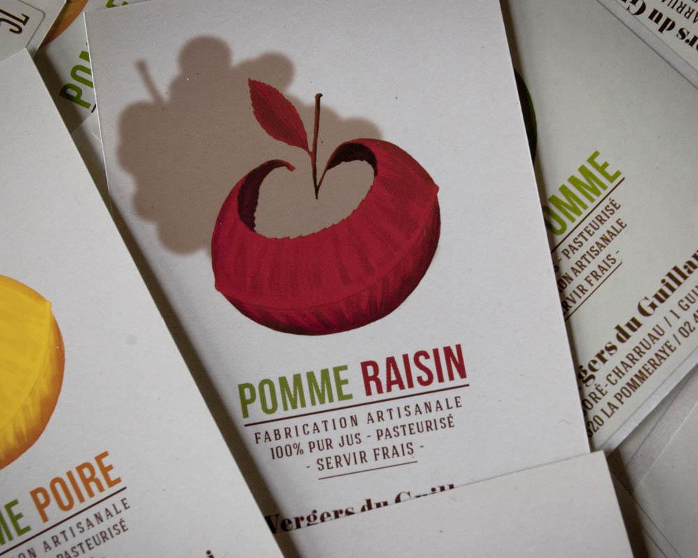 étiquette de jus de pomme raisin