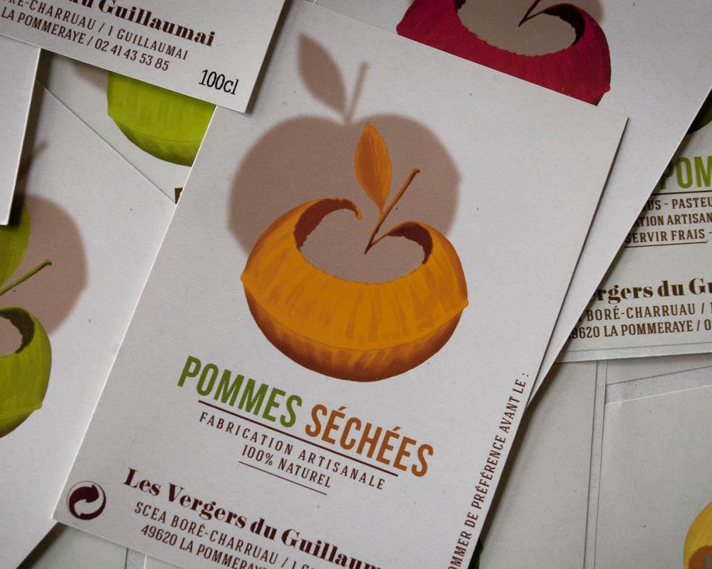 étiquette de pommes séchées
