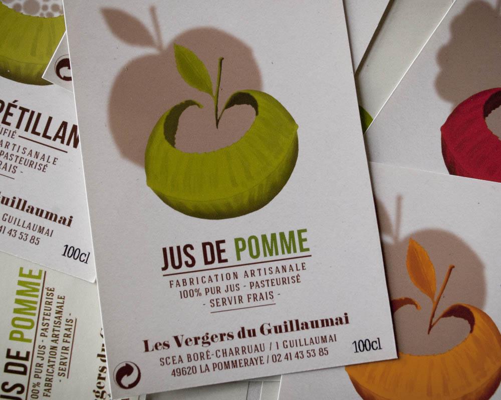 étiquette de jus de pomme